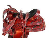 16 17 ARABIAN HORSE WESTERN SADDLE PLEASURE SHOW TRAIL TOOLED LEATHER TACK SET