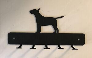 """Bull Terrier Dog Leash Hanger Metal Key Rack Holder 5 Hooks 8"""" Long Mask"""