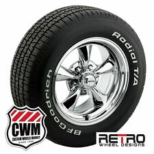 "15x7""/15x8"" Chrome Wheels Rims Tires 235/60-255/60R15 for Chevy Chevelle 66-72"