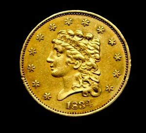 Rare 1834 Classic Head Quarter Eagle Stunning US Gold Coin First-Year Issue