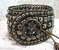 "Pyrite Handmade Beaded Leather Slim 6-1/2"" Cuff Wrap Bracelet"