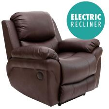 Madison Electric Real Leather Auto Recliner Armchair  - Brown