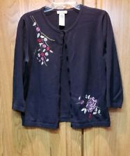 APOSTROPHE Black Cotton Blend Flower Embroidered Cardigan Sweater Size 18-20