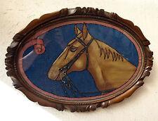 cadre en bois sculpté au cheval - peint et brodé 1920 - équitation