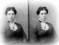 ANTIQUE 8 x 5  GLASS PHOTO NEGATIVE -- 1860-1890 - A VERY FORMAL LADY