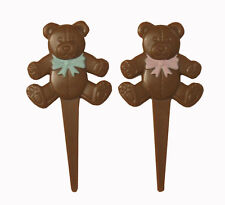 12 Teddy Bear Cupcake Picks Cake Toppers Pink and Light Turquoise