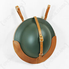 WW2 Reproduction British Brodie Helmet Leather Carrier Brown Leather Officer WW1