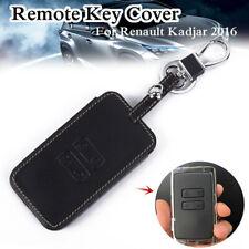 1pc Car Black Stylish Leather Smart Key Cover Case Protector For Renault Kadjar