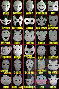 DIY Unpainted Mardi Gras Venetian White Blank Masquerade Paper Pulp Costume Mask
