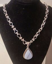 Sterling silver Tear Drop Pendant Necklace with light blue stone 84.53 gr((173))