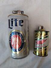 Vintage Miller Beer Can Table Lighters Working Miller Lite Can & Sm Bic Lighter