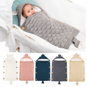 Newborn Baby Swaddle Sleeping Bag Knit Hooded Winter Warm Wrap Blanket