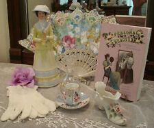 Ladies Vintage Vanity Items Fan-Shoe-Teacup-Beauty Book 1879-Avon Lady Figurine