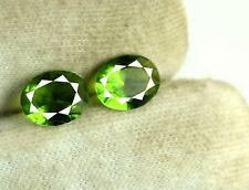Olive Green Peridot Gemstone Pair Natural 3.95 Ct Oval 10 x 7 mm AGSL Certified