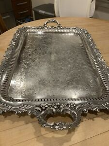 Vintage Large Ornate Silver On Copper Butler Serving Tray with Handles