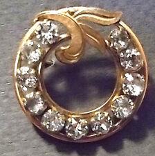 VINTAGE 'VAN DELL' 12KT GOLD FILLED CIRCLE BROOCH/ PIN-clear rhinestones