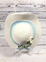 Vintage Porcelain Wall Pocket Ladies Hat Bonnet Blue Ribbon And Flowers