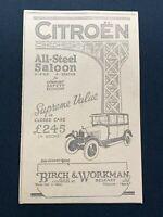 1926 Newspaper Clipping CITROEN CAR ALL-STEEL SALOON, BIRCH & WORKMAN, BELFAST