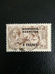 MOROCCO AGENCIES 1924 GV,  3 francs on 2s 6d fine used Sea Horse SG200