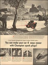 1957 Vintage ad for Champion Spark Plugs`Art Cowbody Horse (041816)