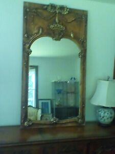 Vintage Italian Handcarved Giltwood Large Trumeau Mirror