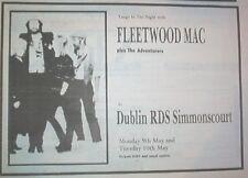 FLEETWOOD MAC Dublin 1988 UK Press ADVERT 12x8 inches