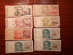 🇦🇷  Argentina assortment of 8 old circulated Banknotes 040921-12