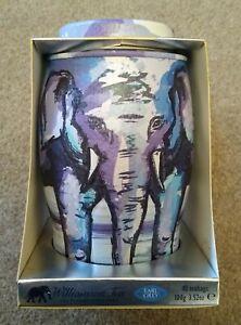 Williamson Elephant tea caddy. Painterly Winter design
