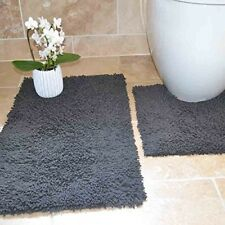 2 Bathroom Mats Pedestal Set Toilet Cotton Grey Mat Decoration Home Floor Rug