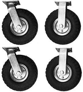 "4 Tires 10"" Air Tire Pneumatic 2 Rigid Wheels & 2 Swivel Caster Cart Farm Caster"