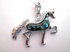 """Lovely Silver Plated Natural Abalone Horse MOP Pendant 18"""" O Chain  (nk1294)"""