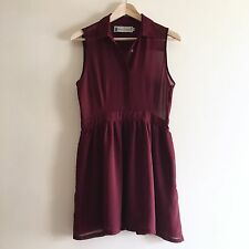 Burgundy 'Hearts & Bows' Shirt Dress. UK 12. (Wine, UK 10, M)