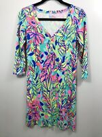 Lilly Pulitzer Palmetto V-neck T-shirt Dress Size XS Gold Buttons