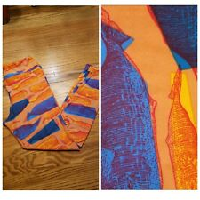 LuLaRo Leggings OS One Size orange and blue whale design whales on sherbert