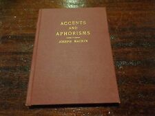 Accents And Aphorisms Joseph Machin compiled by L. Davis 1946 signed book