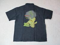 Tommy Bahama Hawaiian Shirt Adult Large Black Rock Star Embroidery Camp Silk Men