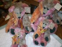 Sally Winey Mohair fully jointed Rainbow Winey   Bears  SET of 4 with signature