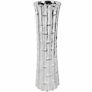 Leonardo Silver Art Flower Vase Large 45.5cm Bamboo Texture Home Decor
