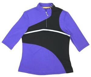 Jamie Sadock 1/2 Sleeve ¼  Zip Black Purple Silver Top Shirt Small #22132