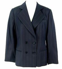 Giorgio Armani Blazer Sz 12 Double Breasted Blue Stripe All Season Jacket Italy