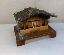 Vtg Swiss Chalet Wooden House Water Wheel Works! Trinket Jewelry Music Box