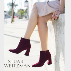 Stuart Weitzman Trendy Pointed Toe Zip Ankle Boot Red Bordeaux Suede US 9.5 $575