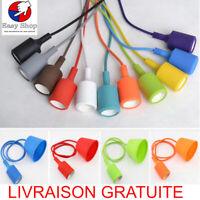 Suspension corde coton design douille couleur deco maison luminaire lustre