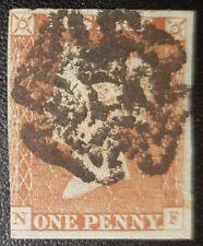 Gb Qv Sg8 1d.red brown N-F Black Mx used stamp (No1712)*