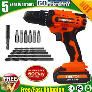 21V Heavy Duty Cordless Drill Driver Electric Screwdriver with Twist Drills LED