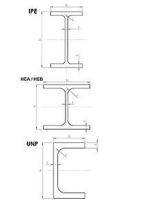 Stahlträger Stahl S235 - HEA IPE UNP Doppel-T Eisen Metall Stütze Pfeiler Träger