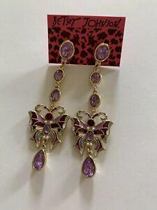 Betsey Johnson purple rhinestone cute butterfly DANGLE earrings-BJ80033