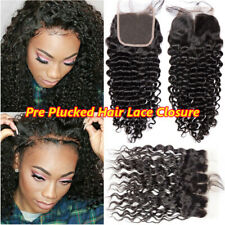 Pre Plucked 360 Lace Frontal Closure Peruvian Virgin Human Hair Curly Wavy 13x4