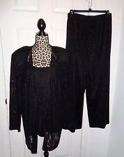 Alex Evenings 3 pc Black Glitter Evening Jacket Tank Top Pants Suit Set Size 20W