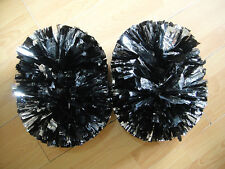 Child Adult Football Basketball Halloween Cheerleader PomPoms Black mixed Silver